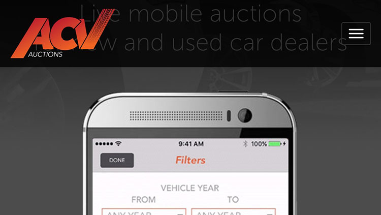ACV Auction's mobile app provides real-time purchasing power of used cars.