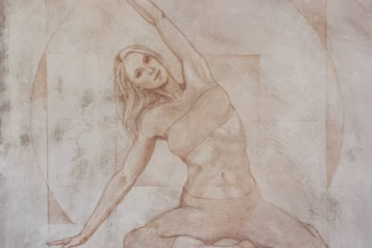 One of a series of drawings of Pilates poses that Sarah Griffin-DiVincenzo and her husband are creating.