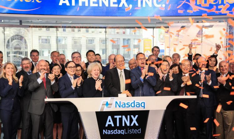 Athenex team rings the closing bell