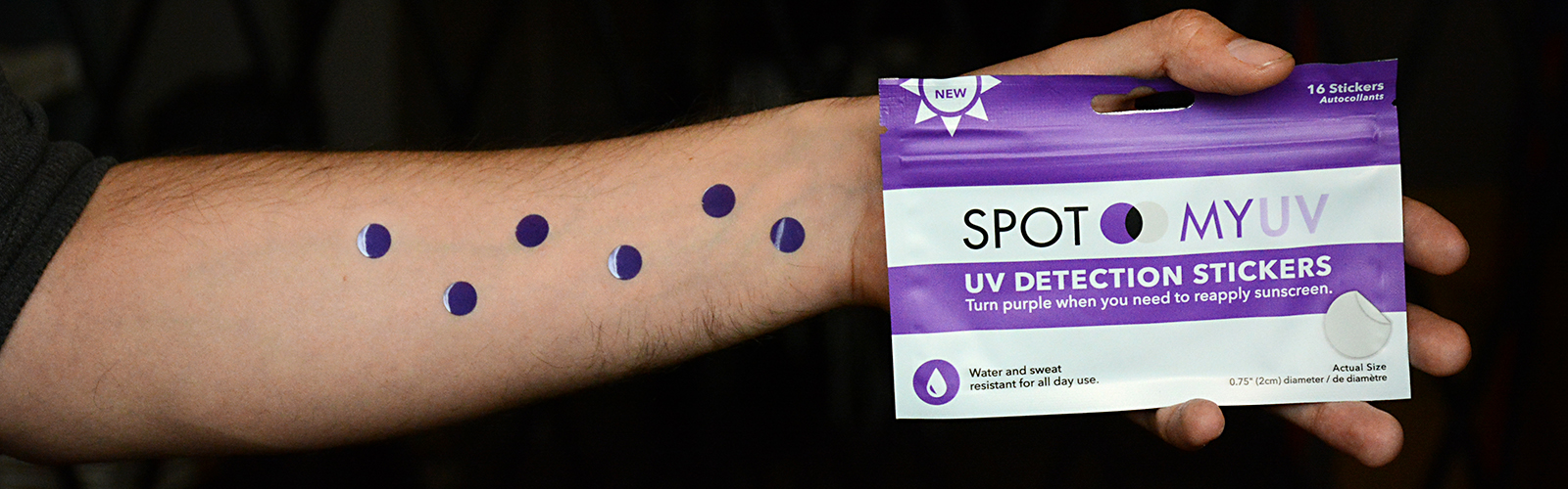 Suncayr's adhesive spot changes from purple to clear to indicate when skin is adequately protected by sunscreen. <span class=&apos;image-credits&apos;>Dan Cappellazzo</span>