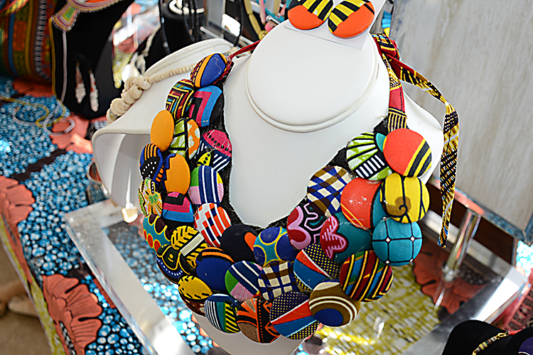"- Handmade by Black Monarchy owner Phylicia Dove, this necklace, known as the ""Origin of One"" necklace, was made using a technique developed in Kenya Calle Kitenge."