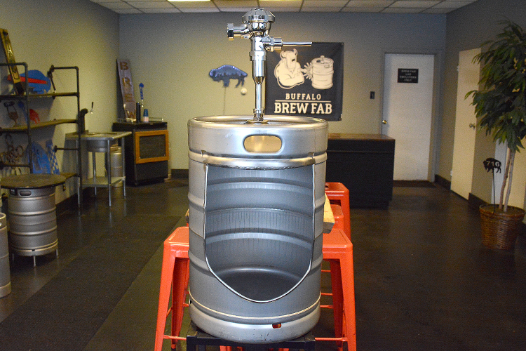 The Buffalo Brew Fab custom keg urinal.