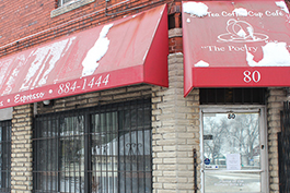The EM Tea Coffee Cup Café is located at 80 Oakgrove Ave. in Buffalo's historic Hamlin Park neighborhood.