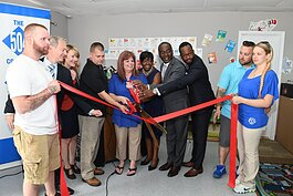 Buffalo Mayor Byron Brown attends the ribbon-cutting of Mary's Little Lambs, an EGF-funded business on the East Side