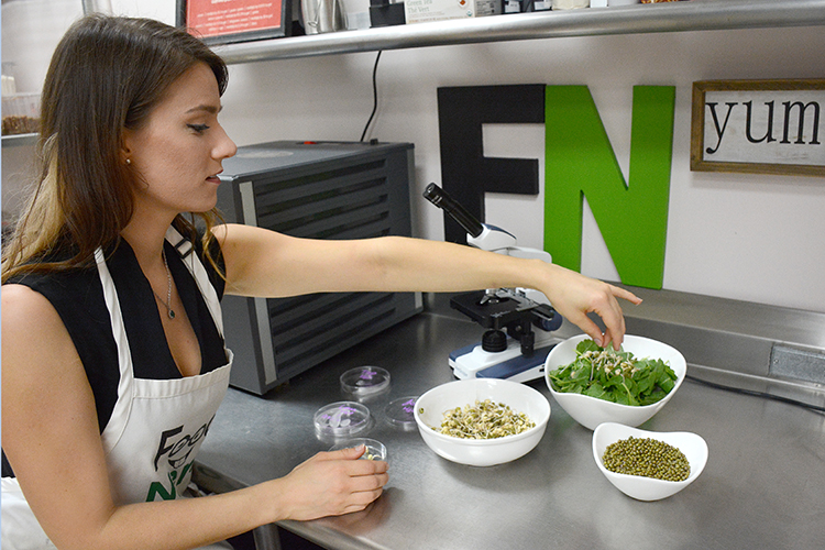 Sharon Cryan blends fresh beans and spouts to create the healthiest of food options for her food-service business, Food Nerd.