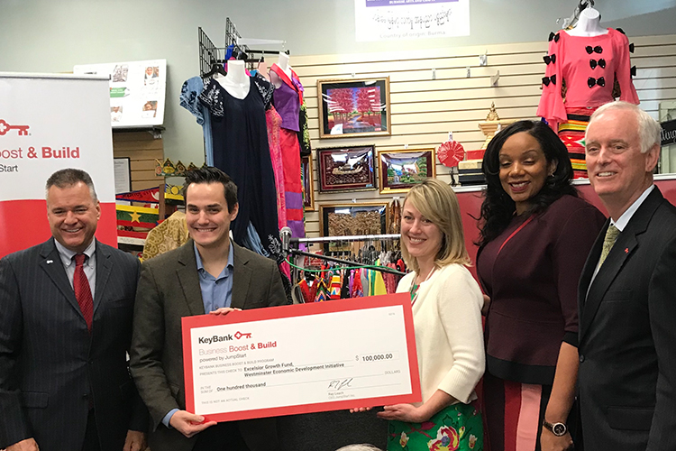 From left, Gary Quenneville, KeyBank; Ben Bissell, WEDI; Sherri Falck, Excelsior Growth Fund; Tamika Otis, JumpStart Inc.; and Buford Sears, KeyBank.