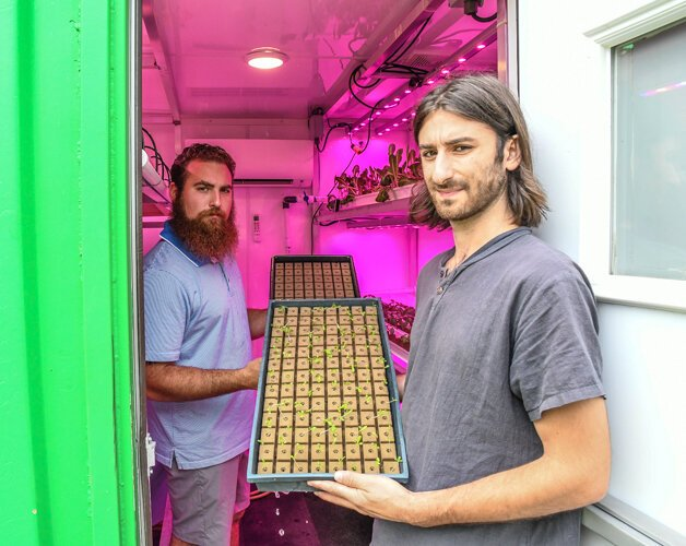 Sal LaTorre and Gabe Bialkowski grow sprouts in the grow pod next to the barn in which they plan to host live events.