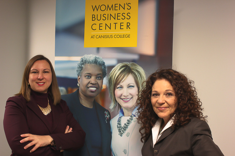 Sara Vescio, executive director of the Women's Business Center at Canisius College, and Lisa Churakos of E-Network - Niagara.