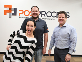 Part of the PostProcess Team: (l. to r.) Diana Robbins, Daniel Hutchinson, and Jeff Mize
