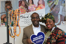 Mayor Byron Brown of Buffalo stands in solidarity with small-business owner Phylicia Brown at Black Monarchy.
