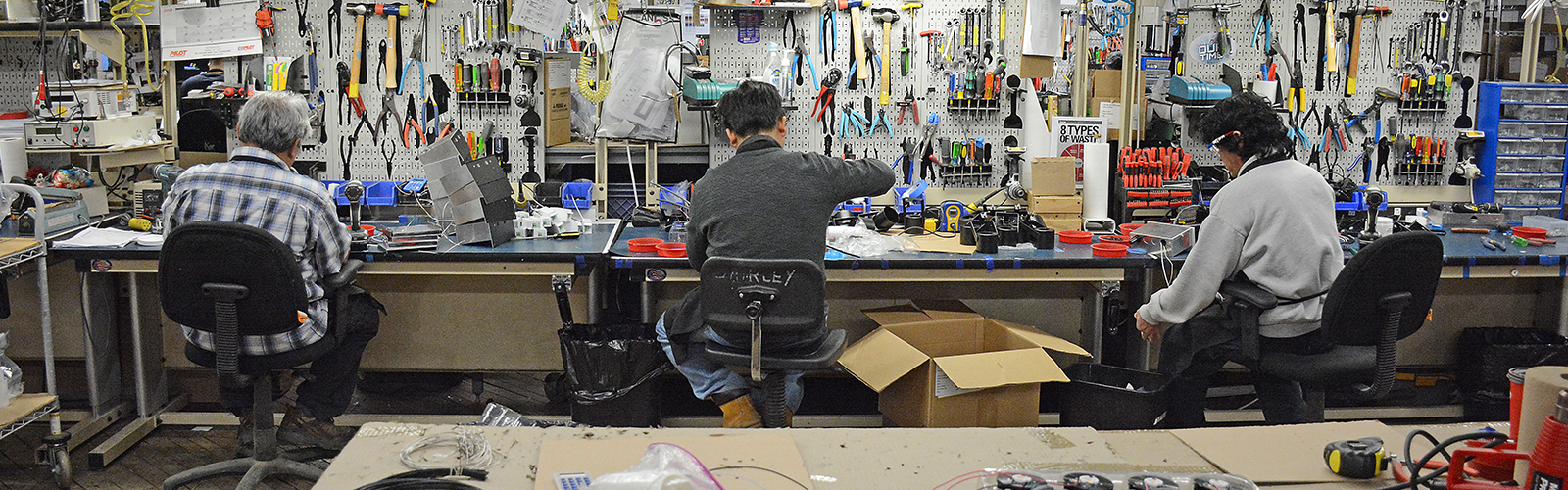 Litelab employees assemble high-end light fixtures which are used in art galleries and high-end retail stores throughout the world. The workforce is primarily made up of refugees who now call Buffalo their home. <span class='image-credits'>Dan Cappellazzo</span>