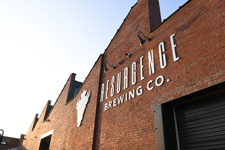 The welcoming exterior of former industiral space Resurgence Brewing Company