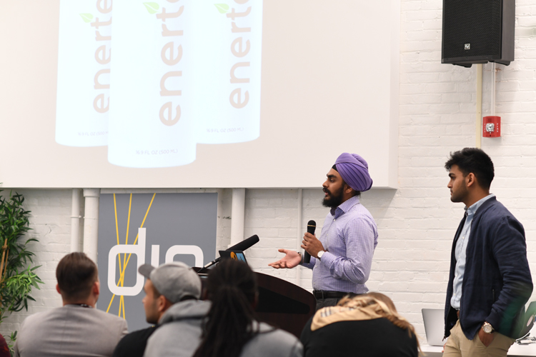 Startup Weekend Buffalo pitch by the Enertea team with Arjan Singh on the mic