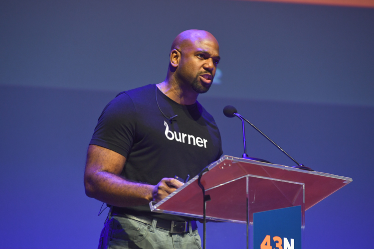 Burner Fitness CEO Oke Okaro pitching at 43North Finals