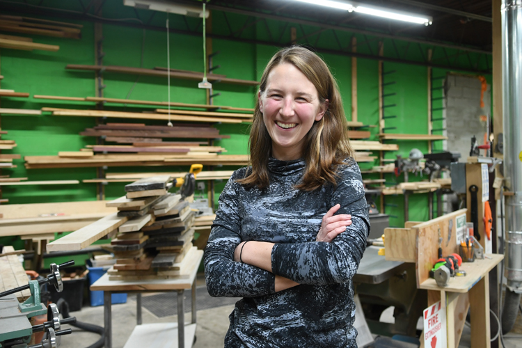 The Foundry's executive director Megan McNally within the woodshop