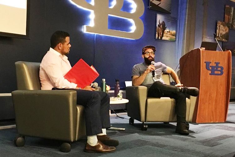 "Pete Cimino, right, co-founder of Lloyd's Taco trucks and factory addresses ""How I Built This"" attendees during the inaugural UB Entrepreneurs Festival. Moderater Matt Rivera is seen at left."