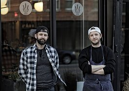 Willmott, left, and Dimmer in front of Marble + Rye, on Genesee St. in downtown Buffalo.
