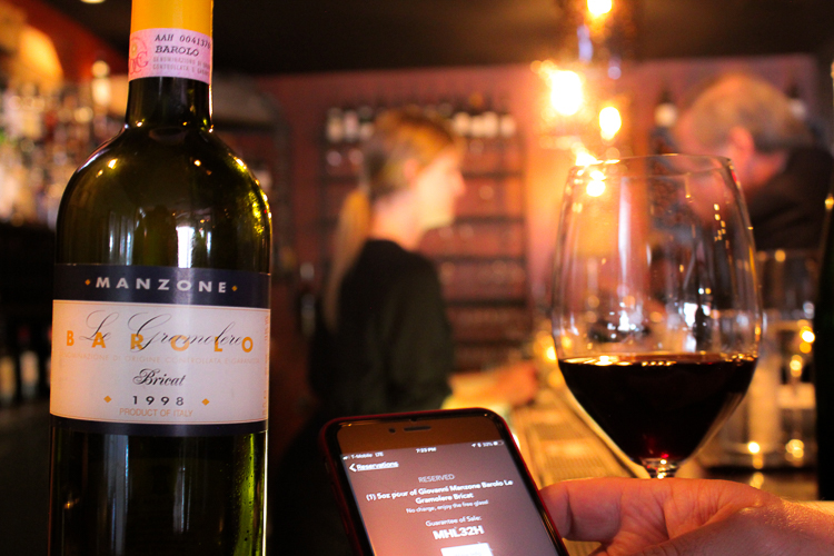The OpenBottle app allows you to reserve high-end wines by the glass, at restaurants like Bacchus in downtown Buffalo, N.Y.