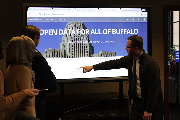 Kirk McLean, special assistant to the deputy mayor and Open Data Buffalo program manager, presents the Open Data Buffalo website during the portal's launch.