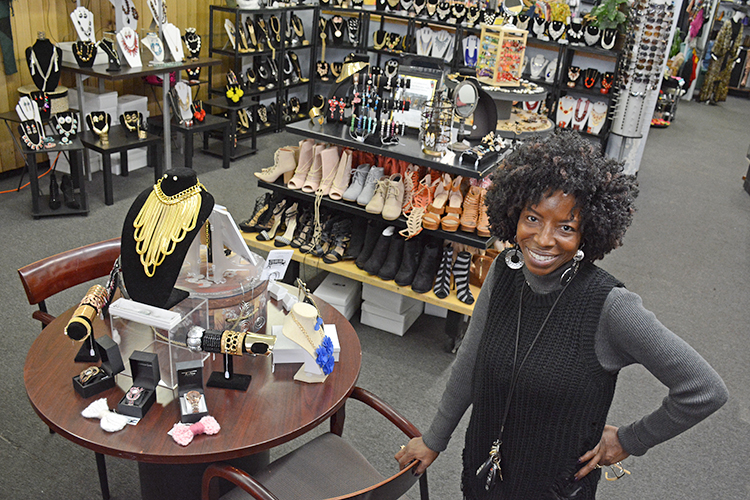 Nikita Williams, owner of Phenominal Xpressions, in her downtown Buffalo store, which features handmade clothing, jewelry, and fashion accessories.