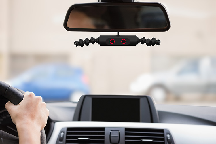 Driver Watchdog mounts to a car's rearview mirror and is compatible with devices such as smart phones and tablets, providing both live and recorded video and audio feeds.