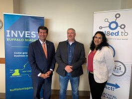 Rel8ed.to founder Bob Lytle with Erie County Executive Mark Poloncarz and Lorrie Abounader, business development manager for Invest Buffalo Niagara.
