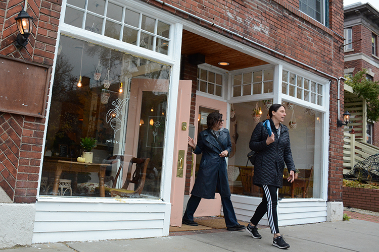 Patrons leave Root & Bloom Café, 423 Elmwood Ave., after a delicious organic breakfast.