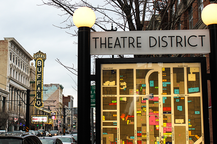 Foot traffic in Buffalo's Theatre District was up by about 27 percent last summer, due to developments completed in the area.