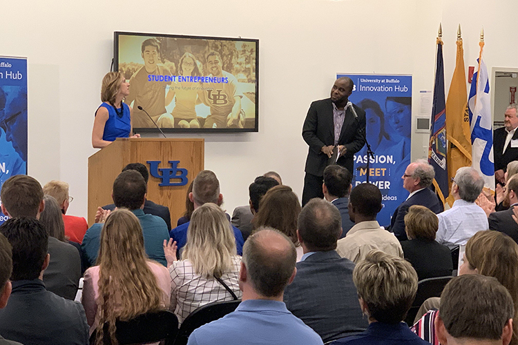 Christina Orsi, UB associate vice president for economic development, with Ogechi Ogok, a Ph.D. candidate in the Department of Chemical and Biological Engineering at UB, at the launch of UB's new Innovation Hub.