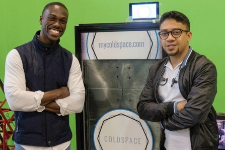 UB alumni Elijah Tyson, left, and Abid Alam co-founded ColdSpace, a company that's developing a refrigerator with food storage compartments, similar to lockers, that users can rent. Tyson is from Long Island, and Alam is from Chittagong, Bangladesh.